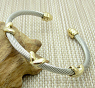Fashion Unisex's Charm Stainless Steel Cable Cuff Bangle