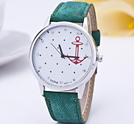 Women Fashionable Leisure Canvas Belt Anchor Hooks Diamond Quartz Hand Watch Cool Watches Unique Watches