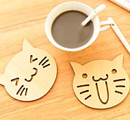 Cute Animal Hollow Wooden Carved Cup Mug Coasters Table Pad Shop Bar Tea Coffee Cup Mat Holder Gift (Random)
