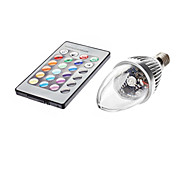 3W E14 LED Candle Lights C35 1 lm RGB Remote-Controlled AC 85-265 V