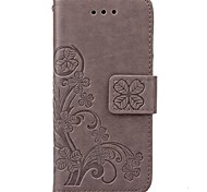 Lucky Clover pattern inside and outside printing the card holder PU Leather Case for iphone5/5S/SE
