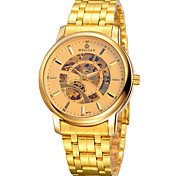 Men's Skeleton Watch Contracted Fashion Automatic Mechanical Men's Gold Strip Waterproof Gold Watch(Assorted Colors) Cool Watch Unique Watch