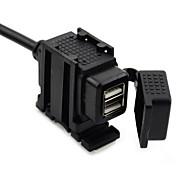 jtron cargador de coche impermeable motocicleta dual del USB - negro (12 ~ 24v)