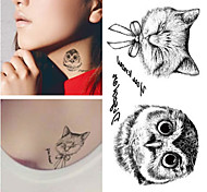 RC-Tatoeagestickers-Waterproof-Dieren Series- voorDames / Heren / Volwassene-Zwart-PVC-1pcs- stuks10.5*6cm-owl
