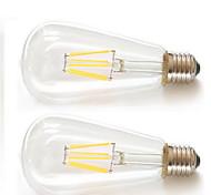 2pcs kwb E26 / E27 6w 6xfilament mazorca 540lm llevada blanca caliente ST64 bombillas de filamento retro dirigidos AC85-265v