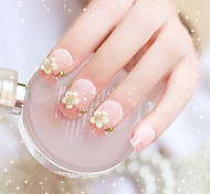 24pcs/set Fake Nails False Nail Finished Manicure Nails Tips Flower White Pearl