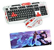 USB 2.4 игровой беспроводная клавиатура мышь и коврик комплект мультимедиа оптический профессиональный комплект водонепроницаемый