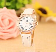 Women's Fashionable  Leisure Roman Scale Diamond Quartz Watch Leather Band Cool Watches Unique Watches