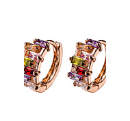 18k Gold AAA Zircon Hoop Stud Earrings JewelryImitation Diamond Birthstone