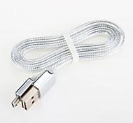 fideos de aluminio USB cable de cable de carga para el cable en general 2.0 teléfono inteligente Android de Samsung (1,0 m)