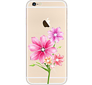 Para Case Tampa Com Strass Transparente Estampada Corpo Inteiro Capinha Flor Macia TPU para AppleiPhone 6s Plus iPhone 6 Plus iPhone 6s