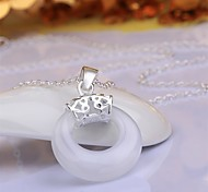 Fashion Style 925 sterling silver Round Opal Pendant Necklace for Women