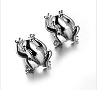 Men's Fashion Frog Style Silver Alloy French Shirt Cufflinks (1-Pair)
