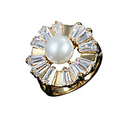 Two color choose New arrival vintage design 100% real gold ring with big big pearl