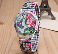 Women's European Style Fashion Printing Butterfly Flower Stretch Wrist Watches