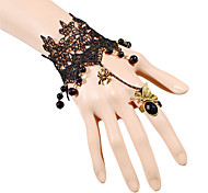 Gothic Style Black Lace  Ring Bracelet for Lady Body Jewelry