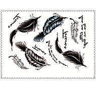 5PCS Fashion Feathers Body Art Waterproof Temporary Tattoos Sexy Tattoo Stickers (Size: 3.74'' by 5.71'')