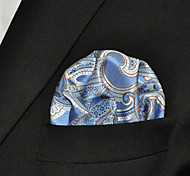 Men Paisley Light Blue 100% Silk  Pocket Square Business Fashion