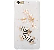Rhinestone Back Cover for Huawei Honor 4C(white zebra flower)
