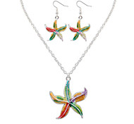 Women European Style Fashion Colorful Cute Starfish Necklace Earrings Set