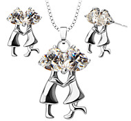 Couples Dance Crystal Pendants Necklace Earrings Jewelry Set For Women 18K Gold Plated Fashion Jewelry S20123
