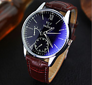 Luxury Brand Fashion Faux Leather Blue Ray Glass Men Quartz Watch