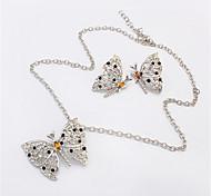 Women European Style Retro Fashion Butterfly Necklace Earrings Set