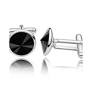 1 Pair Men's High Quality Round Crystal Cufflinks