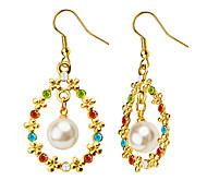 Colorful Crystal Pearl Drop Earrings New Trendy 18K Gold Plated Women Flower Shape Jewelry E10125
