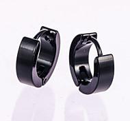 1 Pair Men's  Gold/Silver Stainless Steel Hoop Stud Earrings Fine Jewelry