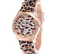 Mulheres Relógio de Moda Quartzo Relógio Casual Silicone Banda Leopardo Marrom marca