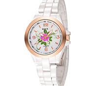 Women's Fashionable Diamond White Ceramic Waterproof Watch