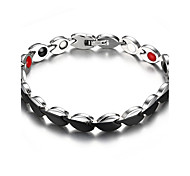 Women's Jewelry Health Care Silver & Black Titanium Steel Magnetic Bracelet