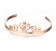 Women's Fashion Crown Style Gold Stainless Steel Cuff Bracelet