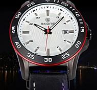 SKONE®Auto Date Watches Men Luxury Brand Scrub Genuine Leather Watch Fashion Casual Wristwatch (Assorted Colors)