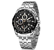 Men's Sport Watch Wrist watch Calendar Water Resistant / Water Proof Casual Watch Quartz Stainless Steel Band Silver