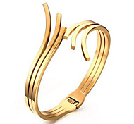 Women's Fashion Gold Stainless Steel Cuff Bracelet