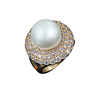 New arrival vintage design 100% real gold ring with big pearl