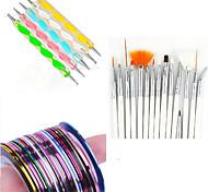 15PCS Nail Art Drawing Pen with 5PCS Dotting Pen Tool  With 12PCS Striping Tape Line Nail Stripe Tape Nail Sets