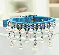 Dog Collar Adjustable/Retractable / Rhinestone / Strobe/Flashing / Pearl Red / Black / Blue / Pink Textile