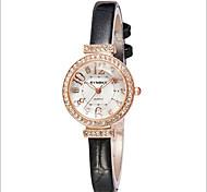 Women's Gold Case Slim Leather Band Quartz Wrist Watch Cool Watches Unique Watches