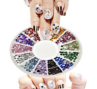1pcs 12 Colors New Round Bowl Nail Art Small Colorful Diamond Jewelry Design Nail Art DIY Decoration NC269Yi