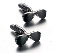 Men's Fashion Sunglasses Style Silver Alloy French Shirt Cufflinks (1-Pair)