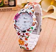 Women's Fashion Watch Quartz Plastic Band Flower Multi-Colored Brand