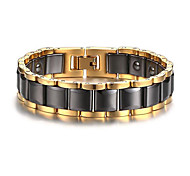 Men's Luxury Jewelry Health Care Gold Stainless Steel Hematite Bracelet