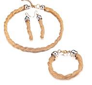 Women's Fashion Gold Alloy Necklace Bracelet Earrings Jewelry Set
