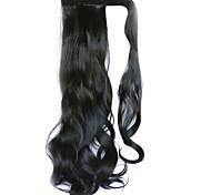 parrucca nera 45 centimetri sintetica filo ad alta temperatura ricci coda di cavallo di colore 2