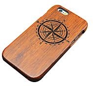 pêra de madeira pequena bússola carving caso do iphone duro tampa traseira de proteção para iphone se 5s / iphone / iphone 5