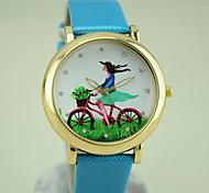 Women's European Style Fashion New Round Shiny Rhinestones Bicycle Girl Watches