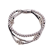 Silver Beads Ball Strand Magnet Wrap Bracelet